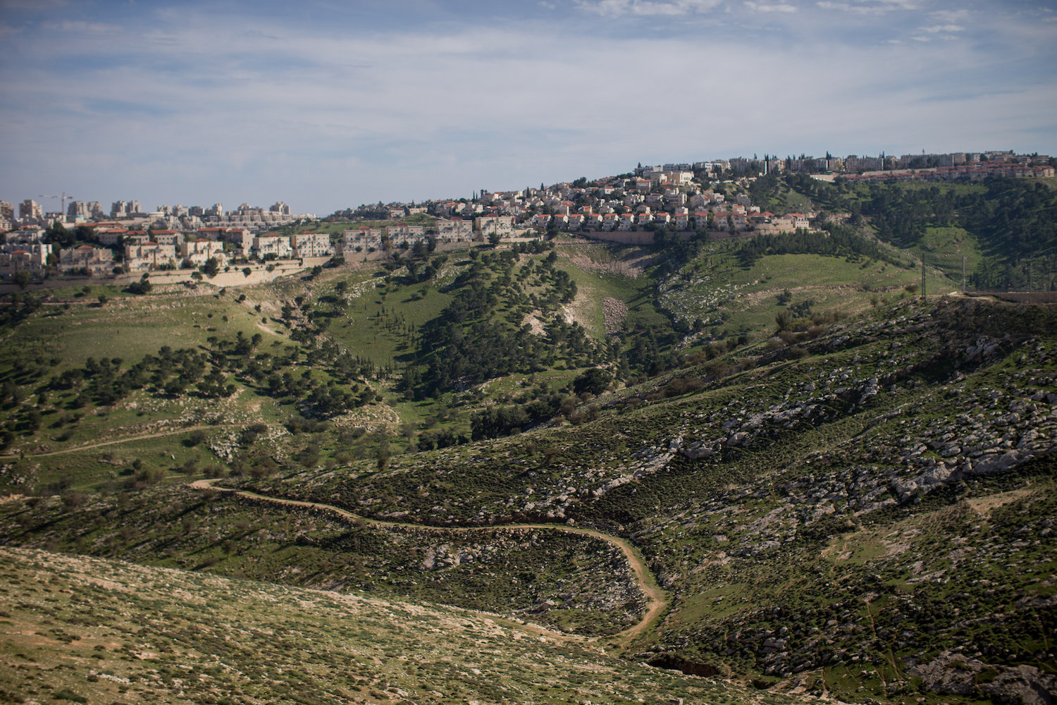 View of the Israeli settlement of Ma'ale Adumin and E1, occupied West Bank. (Yonatan Sindel/Flash90)