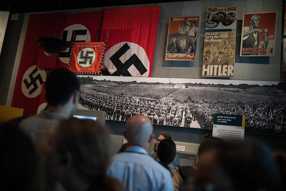 Visitors seen at the Yad Vashem in Jerusalem ahead of Holocaust Remembrance Day, April 28, 2019. (Hadas Parush/Flash90)