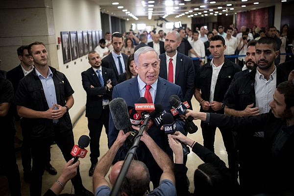 Israeli Prime Minister Benjamin Netanyahu speaks to the media at after a vote on a bill to dissolve the parliament, at the Knesset, Jerusalem, May 30, 2019. (Yonatan Sindel/Flash90)