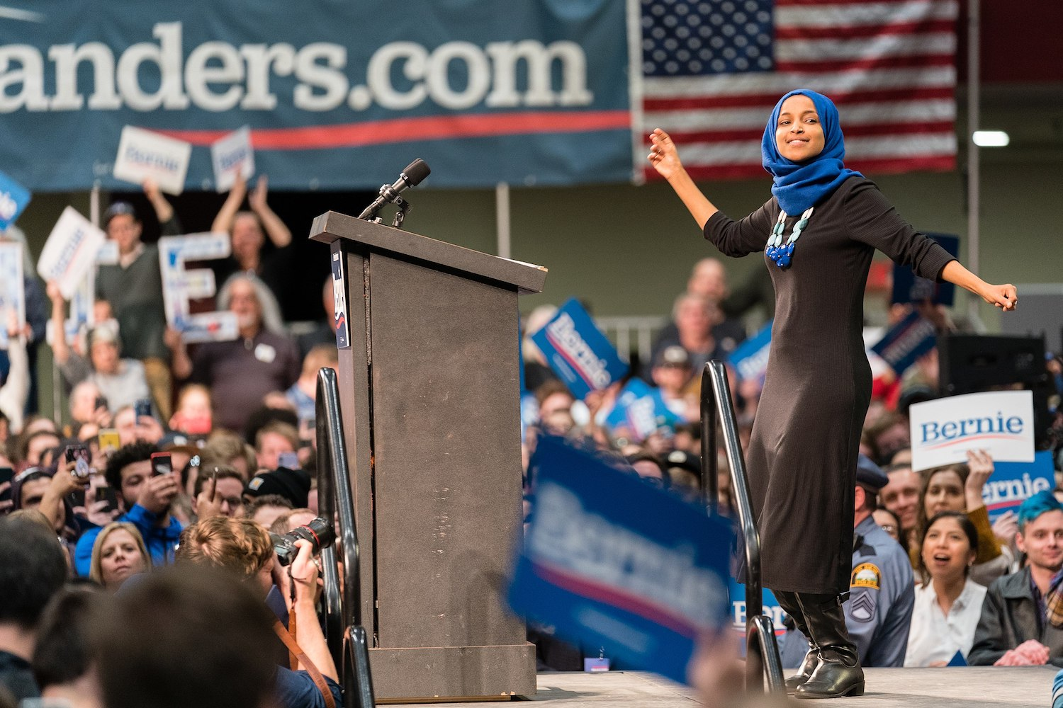 Rep. Ilhan Omar dances on stage at a Bernie Sanders rally in St. Paul, Minnesota, March 2, 2020. (Lorie Shaull/CC BY-SA 2.0)