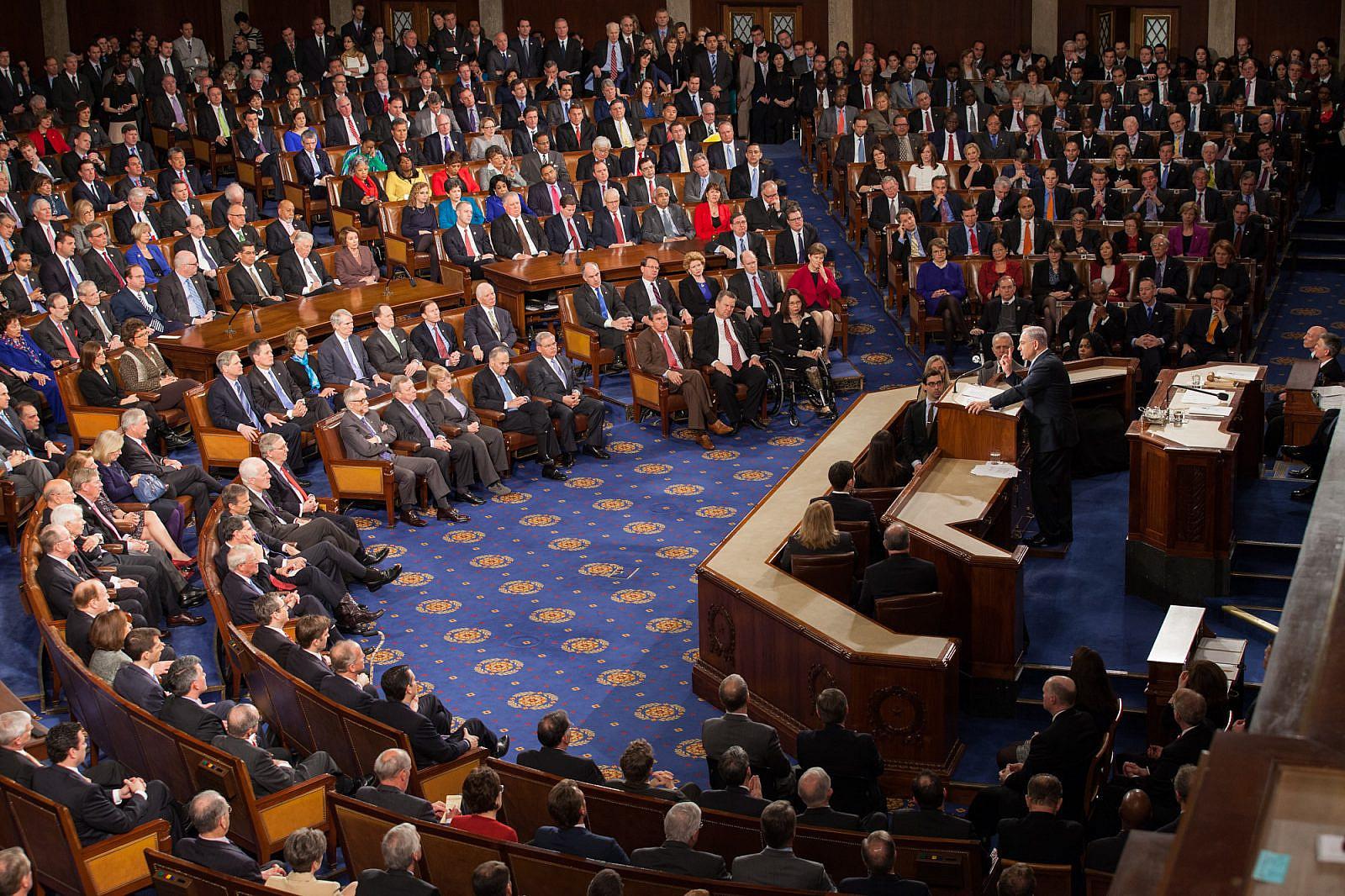 Israeli Prime Minister Benjamin Netanyahu speaking before the U.S. Congress, March 3, 2015. (Official Photo for Speaker John Boehner by Heather Reed/Flickr)