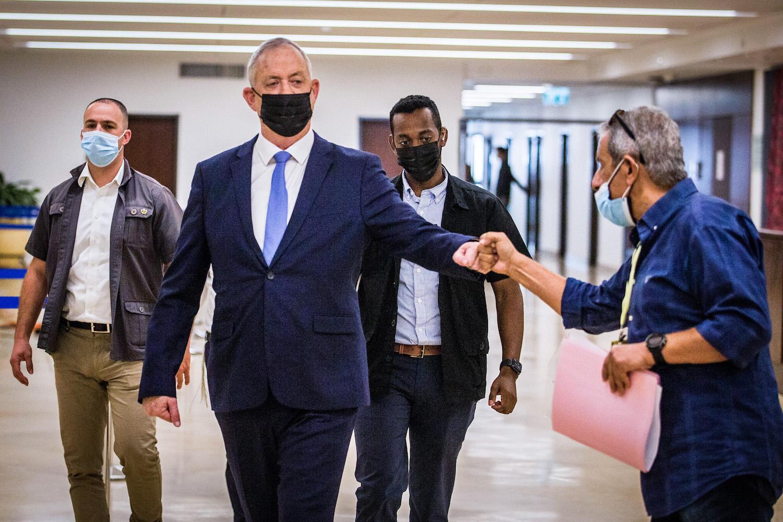 Israeli Defense Minster Benny Gantz seen at the Knesset, November 10, 2020. (Oren Ben Hakoon/Flash90)