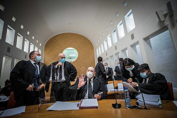 Attorneys arrive to the Supreme Court for a hearing on petitions put forth against the Jewish Nation-State Law, Jerusalem, December 22, 2020. (Yonatan Sindel/Flash90)