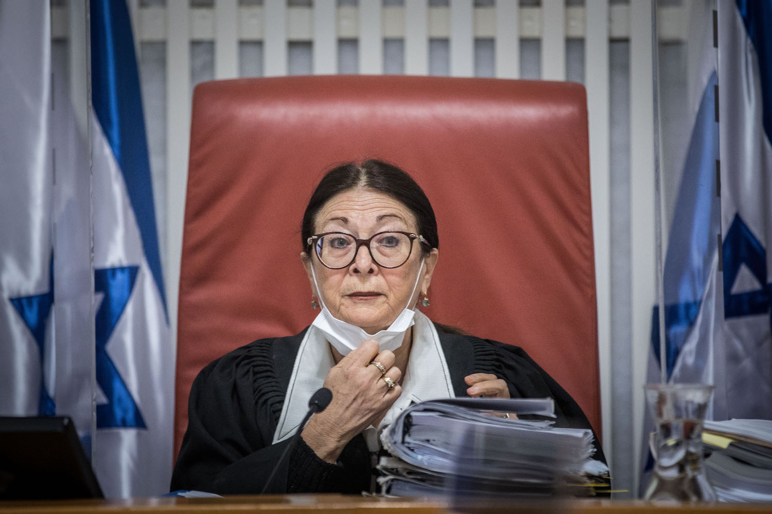 President of the Israeli Supreme Court Esther Hayut seen during a hearing on petitions against the Jewish Nation-State Law, Jerusalem, December 22, 2020. (Yonatan Sindel/Flash90)
