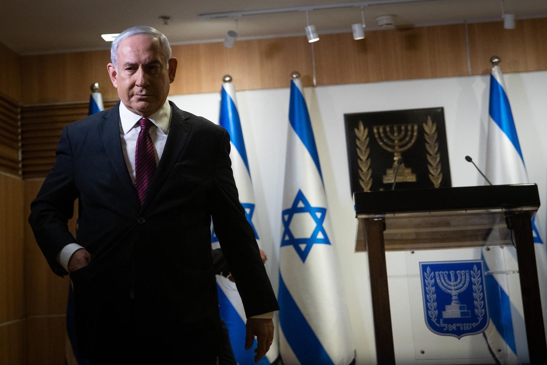 Israeli Prime Minister Benjamin Netanyahu gives a statement to the media in the Knesset, Jerusalem, December 22, 2020. (Yonatan Sindel/Flash90)