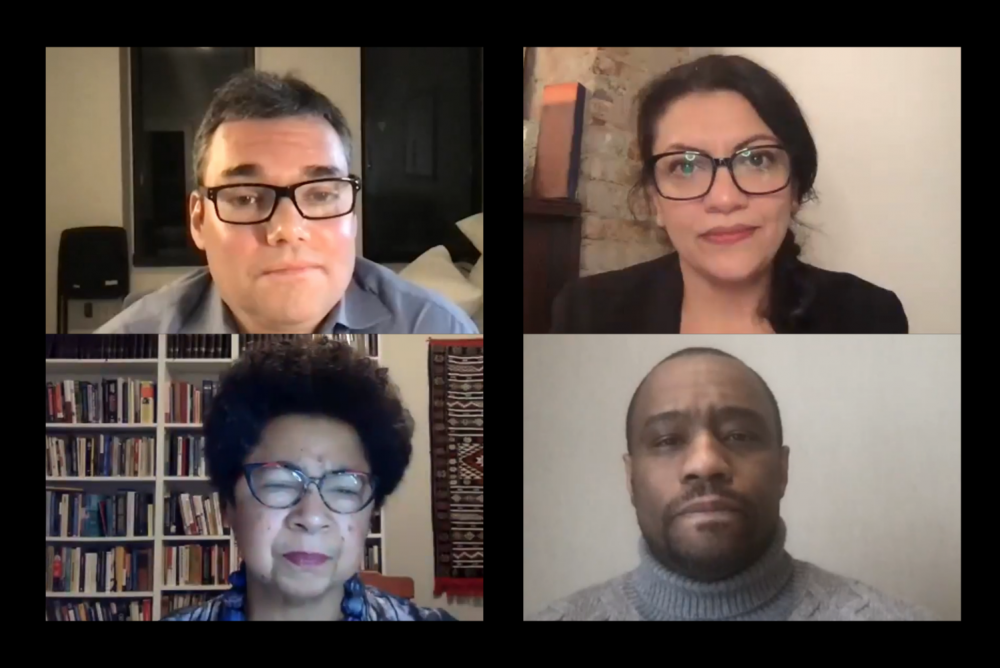 Screenshots of a Jewish Voice for Peace panel on antisemitism, featuring commentator Peter Beinart, Congresswoman Rashida Tlaib, historian Barbara Ransby, and scholar Marc Lamont Hill.