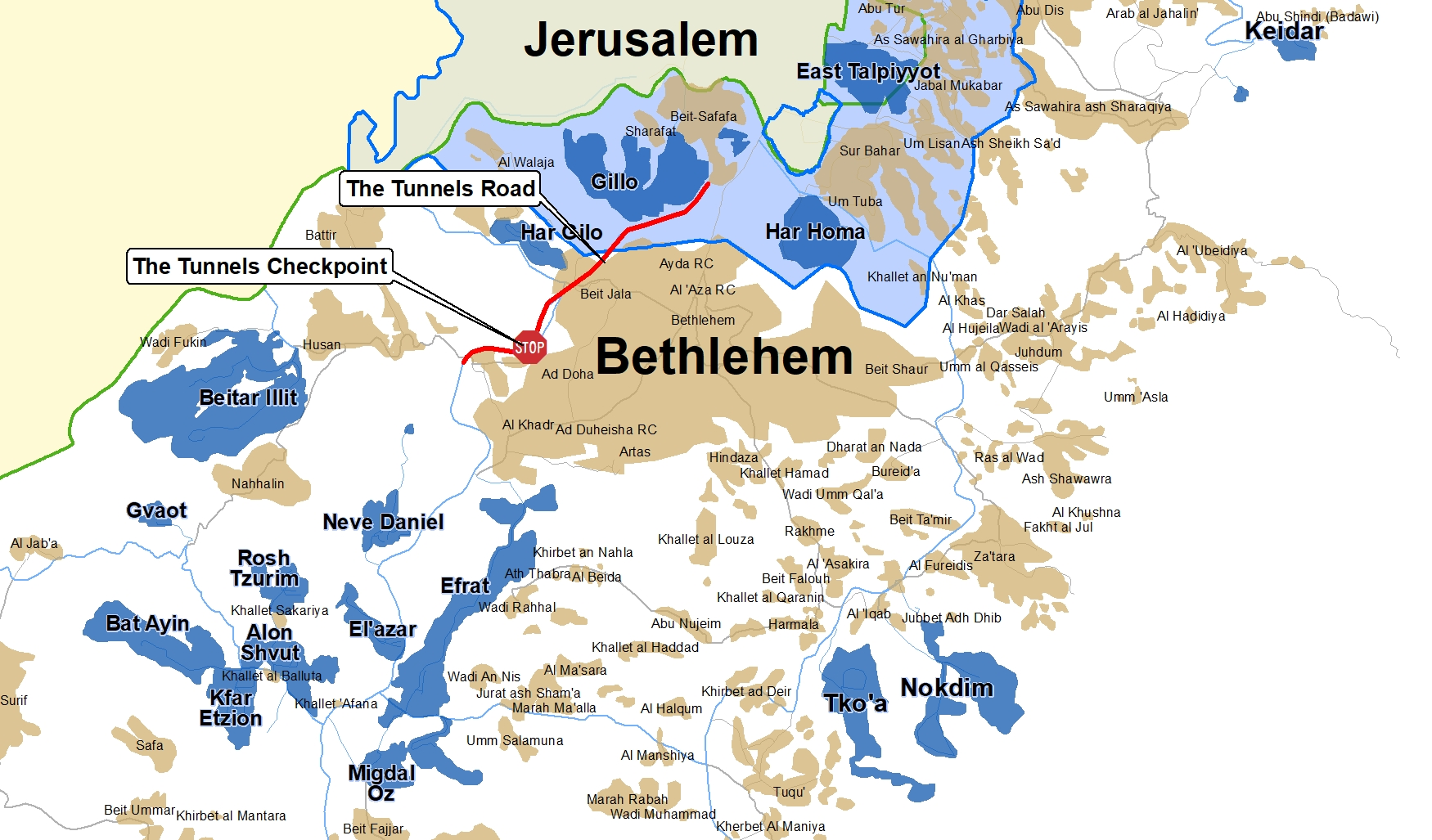 Map outlining the Tunnels Road and Israeli settlements in the Bethlehem-Jerusalem area. (Peace Now)