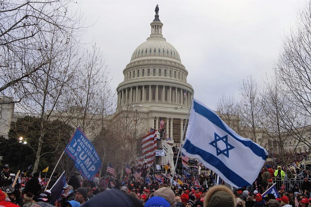 The Israeli flag was spotted at the rally for U.S. President Donald Trump that would end in the storming of the U.S. Capitol in Washington, on January 6, 2021. (Tyler Merbler/CC BY 2.0)