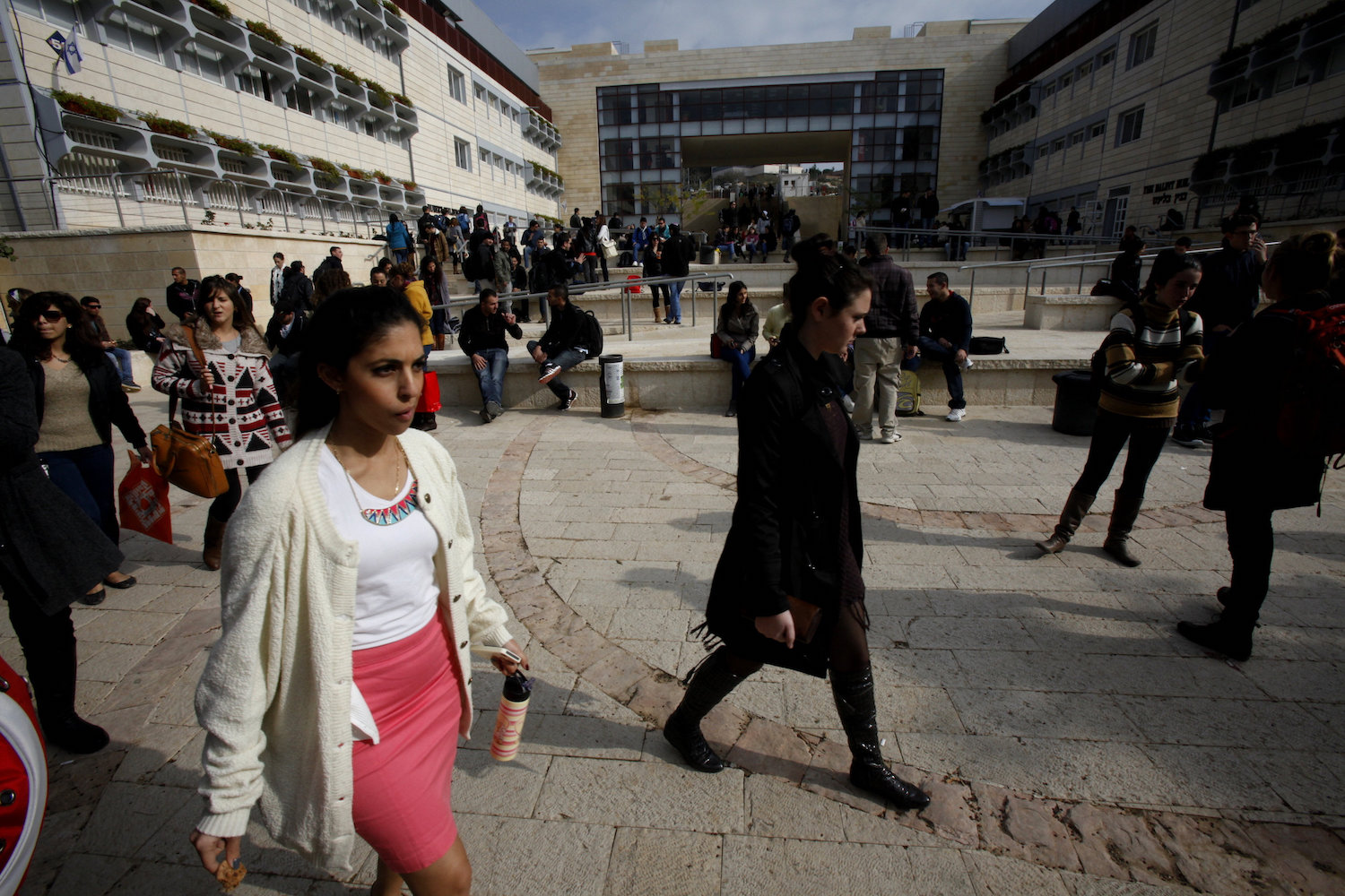 Students at the Ariel University, December 25 2012. (Flash90)