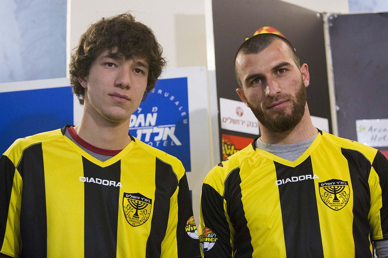 Gabriel Kadiev (L) and Zaur Sadayev seen during a Beitar Jerusalem soccer club press conference introducing the new players to the media, Jerusalem, Jan. 30, 2013. (Yonatan Sindel/Flash90)