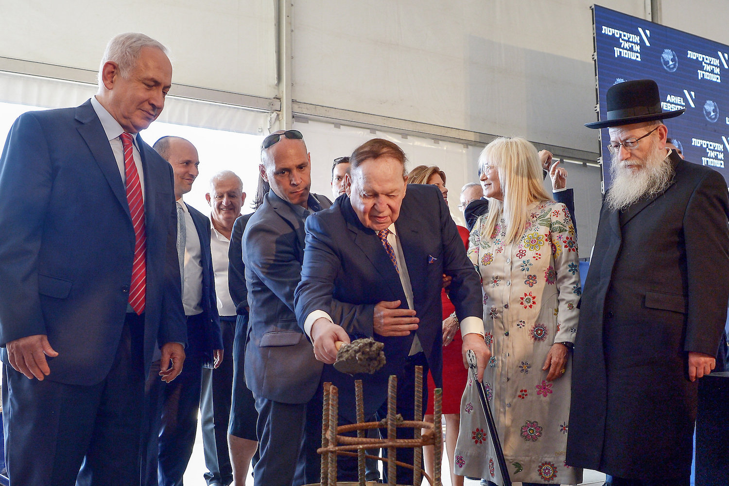 Sheldon Adelson seen at the ceremony of a laying of a cornerstone for Ariel University's medical school, named after the American businessman, West Bank, June 28, 2017. (Ben Dori/Flash90)