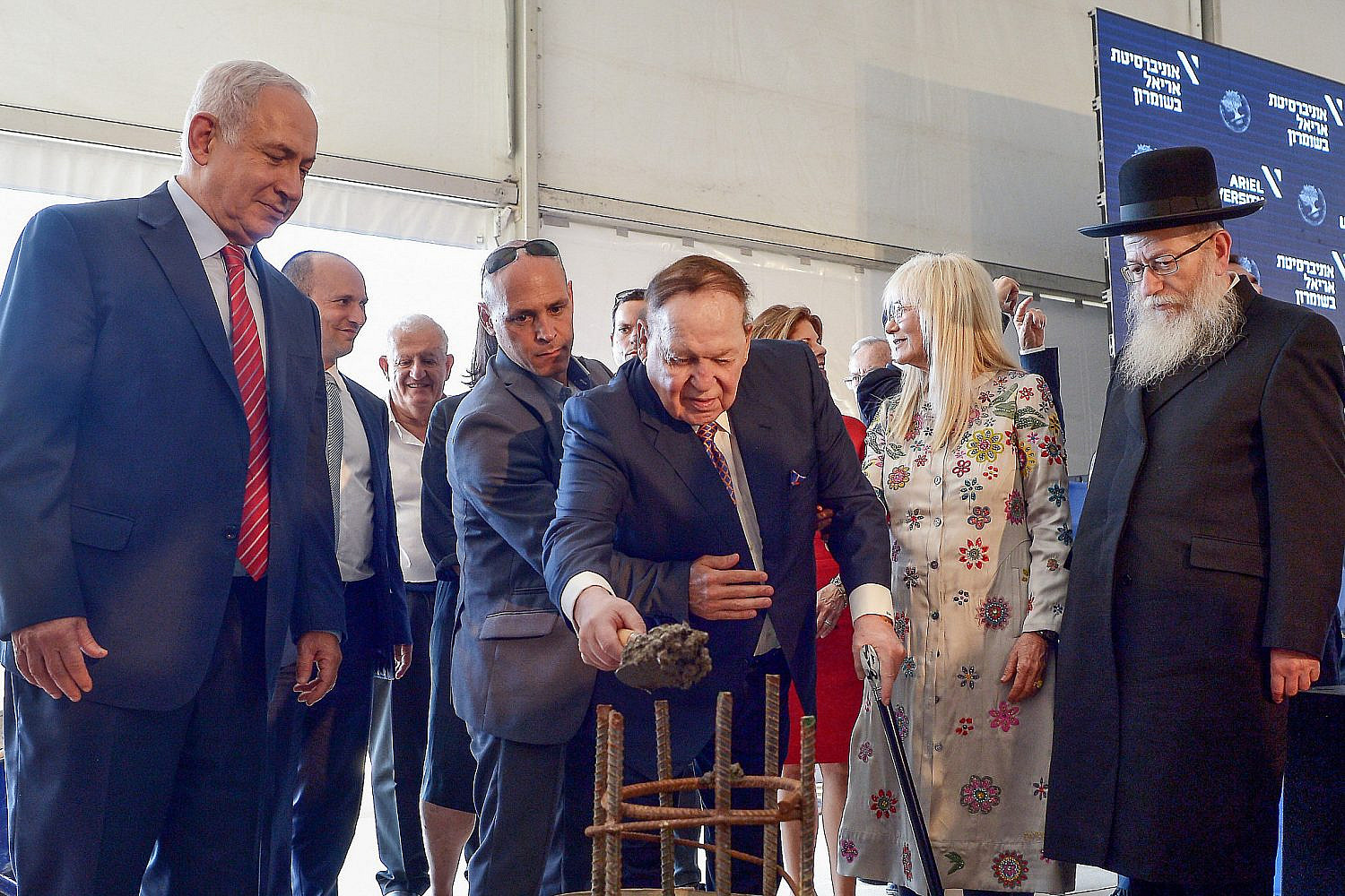 American businessman and investor Sheldon Adelson at the ceremony of a laying of a cornerstone for new Medicine Faculty buildings at Ariel University in the West Bank, June 28, 2017. (Ben Dori/Flash90)