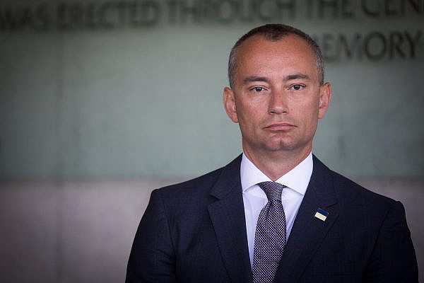 Nickolay Mladenov, UN Special Coordinator for the Middle East Peace Process seen during a visit of UN Secretary General Antonio Guterres (unseen) at the Yad Vashem Holocaust Memorial in Jerusalem August 28, 2017. (Yonatan Sindel/Flash90)