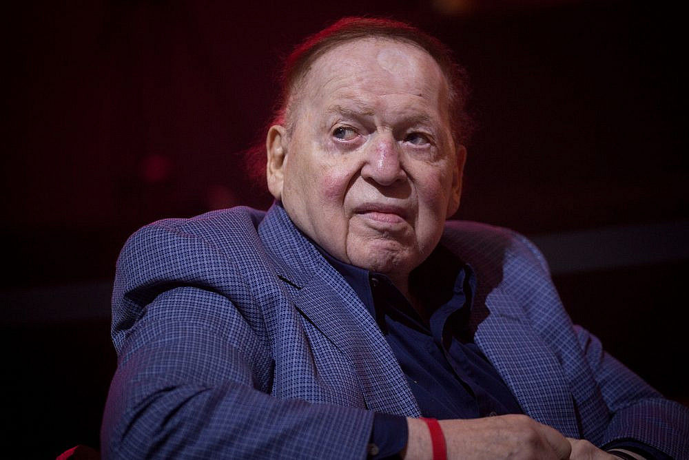 American business magnate Sheldon Adelson attends an American Independence Day celebration at Avenue in Airport City, near Tel Aviv, July 3, 2018. (Miriam Alster/Flash90)