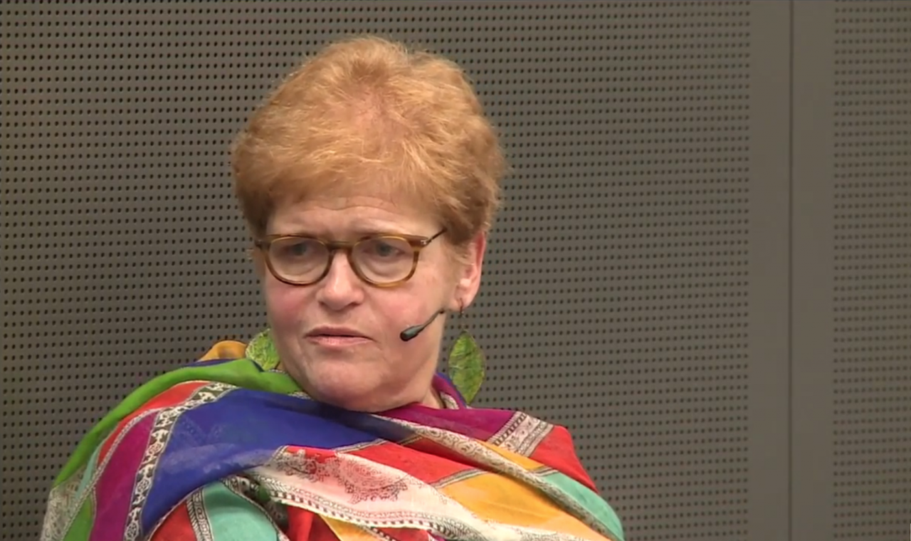 U.S. historian Deborah Lipstadt at a panel discussion on the Holocaust held by the International Committee of the Red Cross, May 20, 2015. (Screenshot of ICRC video on YouTube)