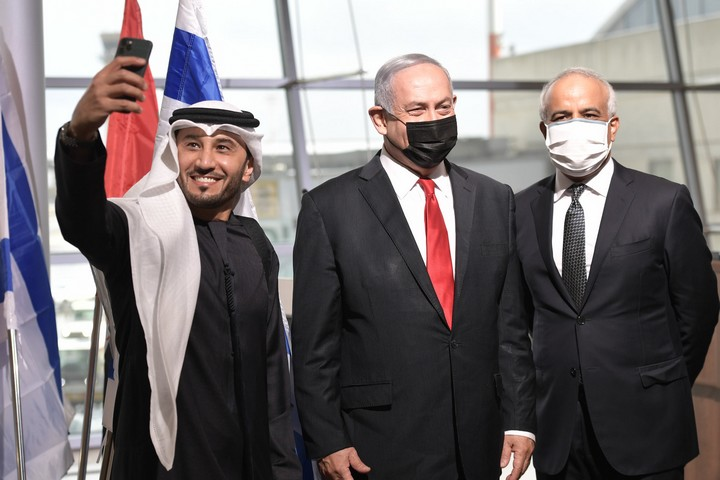 Prime Minister Benjamin Netanyahu at a ceremony welcoming the first commercial flight from Dubai to Israel, Ben Gurion International Airport, November 26, 2020. (Kobi Gideon/GPO)