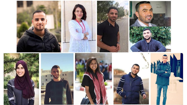 Photos of Palestinian students in Israeli custody. From top left (clockwise): Tawfiq Abu 'Arqub, Mais Abu Ghosh, Hamza Abu Qar', Fadi Hamad, Yahya Rabi', Oday Nakhla, Omar al-Kiswani, Samah Jaradat, Amir Hazboun, and Shatha Hassan.