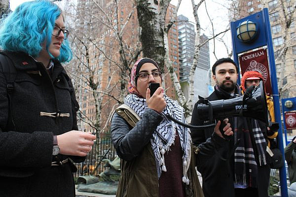 Members and supporters of Fordham Students for Justice in Palestine protest the university administration's refusal to register SJP as a student organization, in New York. Jan. 23, 2017. (Joe Catron/Flickr)