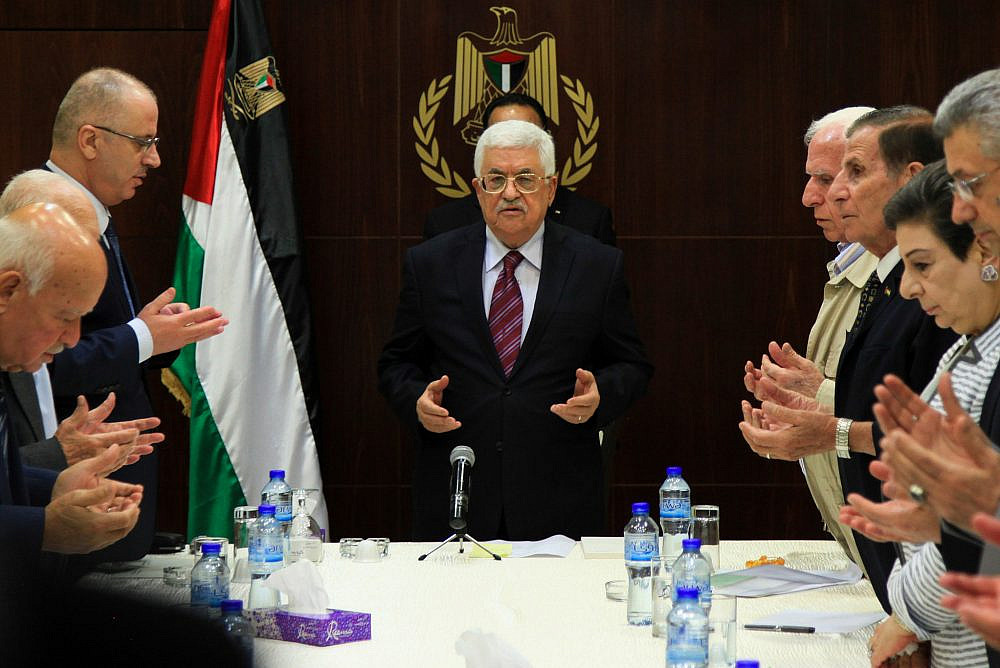 Palestinian President Mahmoud Abbas attends a Palestinian Liberation Organization (PLO) executive committee meeting in the West Bank city of Ramallah, Aug. 22, 2015. (Flash90)
