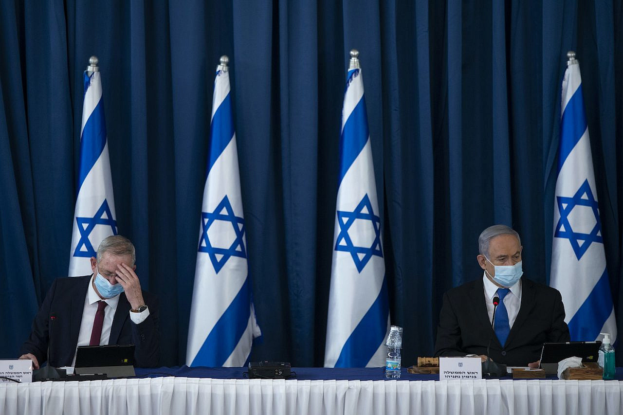 Israeli Prime Minister Benjamin Netanyahu and Blue and White party leader Benny Gantz at the weekly cabinet meeting, at the Foreign Affairs Ministry in Jerusalem on July 5, 2020. (Amit Shabi/POOL)