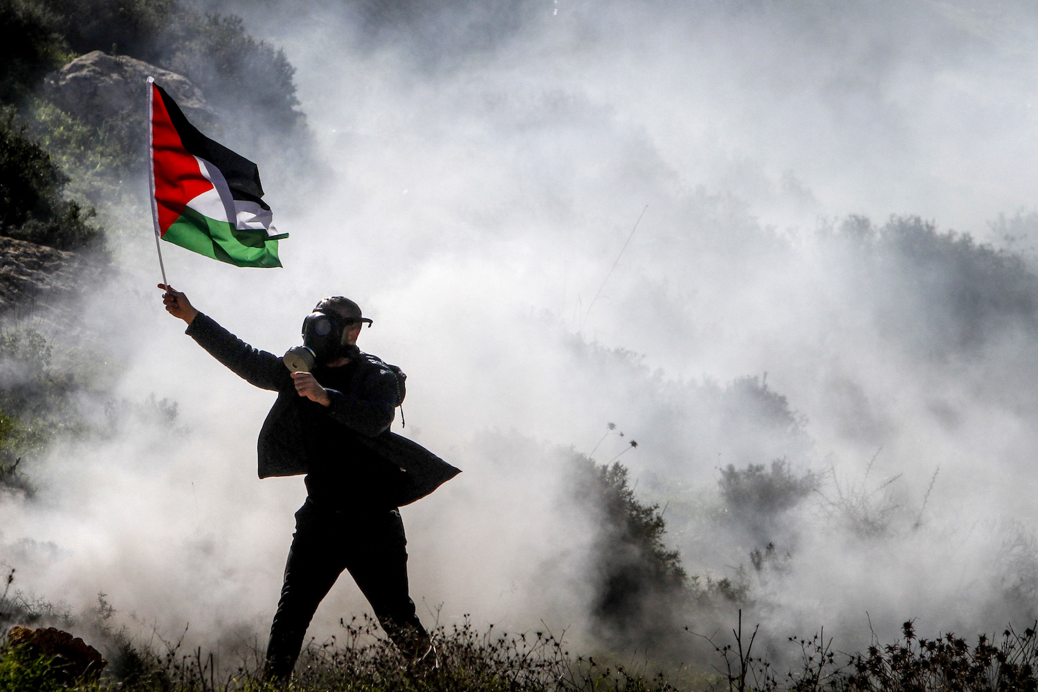 Palestinians are tear gassed by Israeli security forces during a protest in the village of Beit Dajan, near Nablus, January 22, 2021. (Nasser Ishtayeh/Flash90)