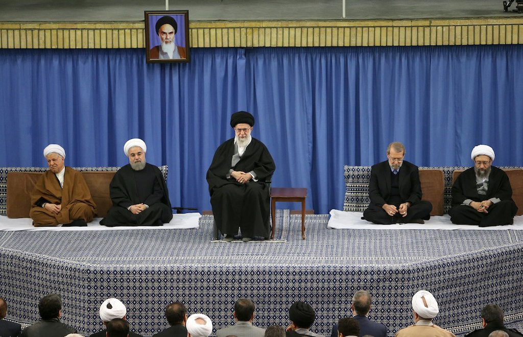 Ali Khamenei and head officials of the Government of Iran, Dec. 29, 2015 (Official website of Supreme Leader Ali Khamenei/via Wikimedia)