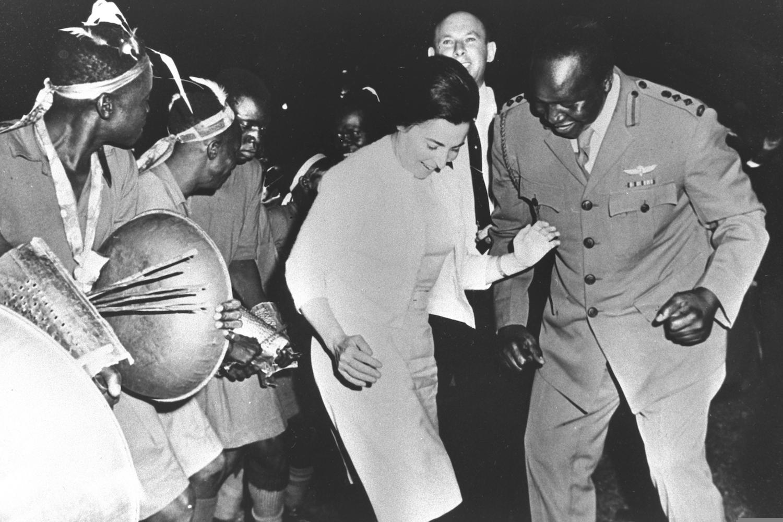 Miriam Eshkol, wife of Israeli Prime Minister Levi Eshkol, dances with Ugandan Chief of Staff Idi Amin, Jinja Military Camp, Uganda, June 13, 1966. (Moshe Pridan)