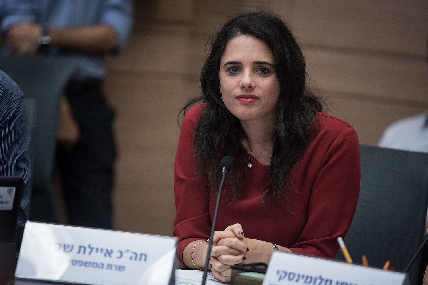 Justice Minister Ayelet Shaked attends a Constitution Committee meeting at the Knesset, July 2, 2018. (Hadas Parush/Flash90)