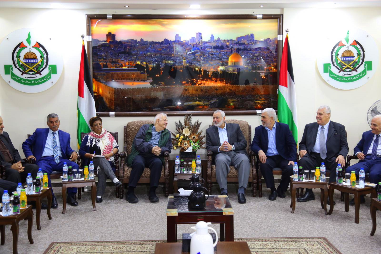 Hamas Chief Ismail Haniyeh meets with Chairman of the Palestinian Central Election Committee Hana Naser, in Gaza City, Nov. 3, 2019. (Hassan Jedi/Flash90)