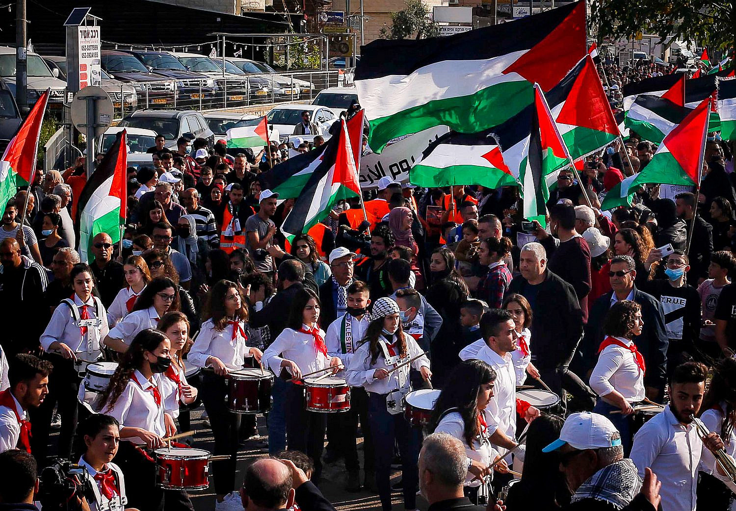Palestinian citizens of Israel march during a protest marking Land Day, in Arrabe, northern Israel, March 30, 2021. (Jamal Awad/Flash90)