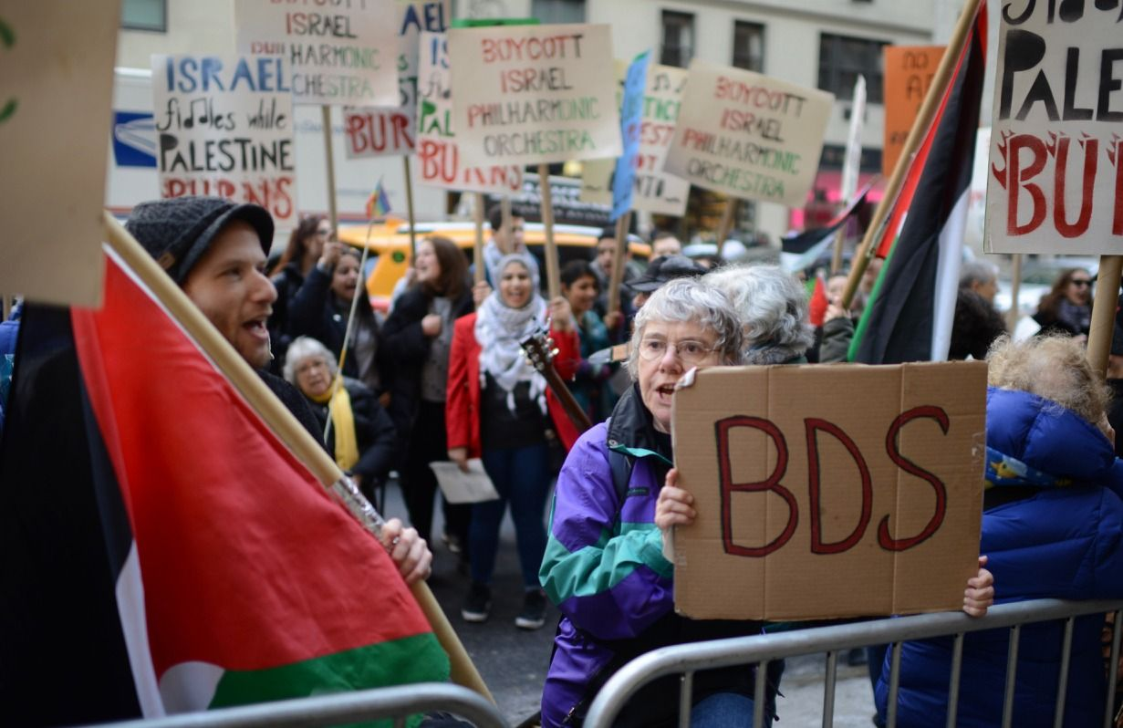 Protesting the Israel Philharmonic Orchestra in Carnegie Hall, New York, February 3, 2019. (Gili Getz)