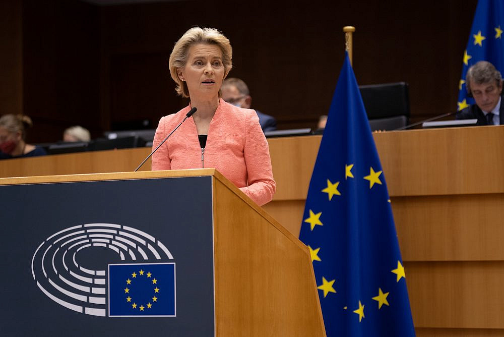 European Commission President Ursula von der Leyen delivers her first State of the EU address at the European Parliament in Brussels. September 16, 2020. (European Parliament/CC-BY-4.0)