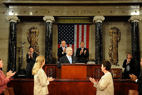Prime Minister Netanyahu delivers a speech to both houses of Congress in Washington D.C. May 24, 2011. (Avi Ohayon/GPO)