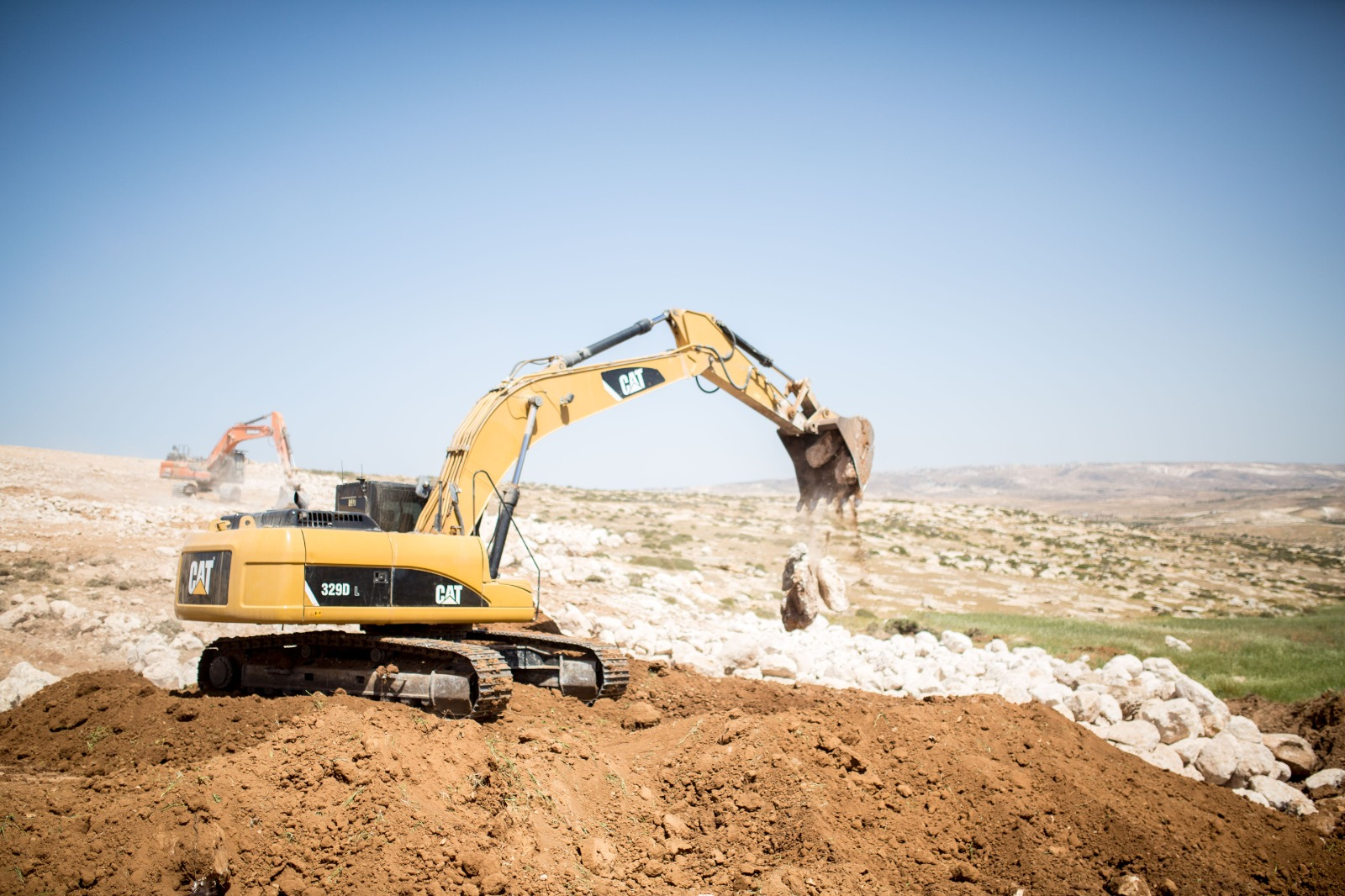 Israeli bulldozers at work in Ein al-Beida, West Bank, April 15, 2021. (Emily Glick)