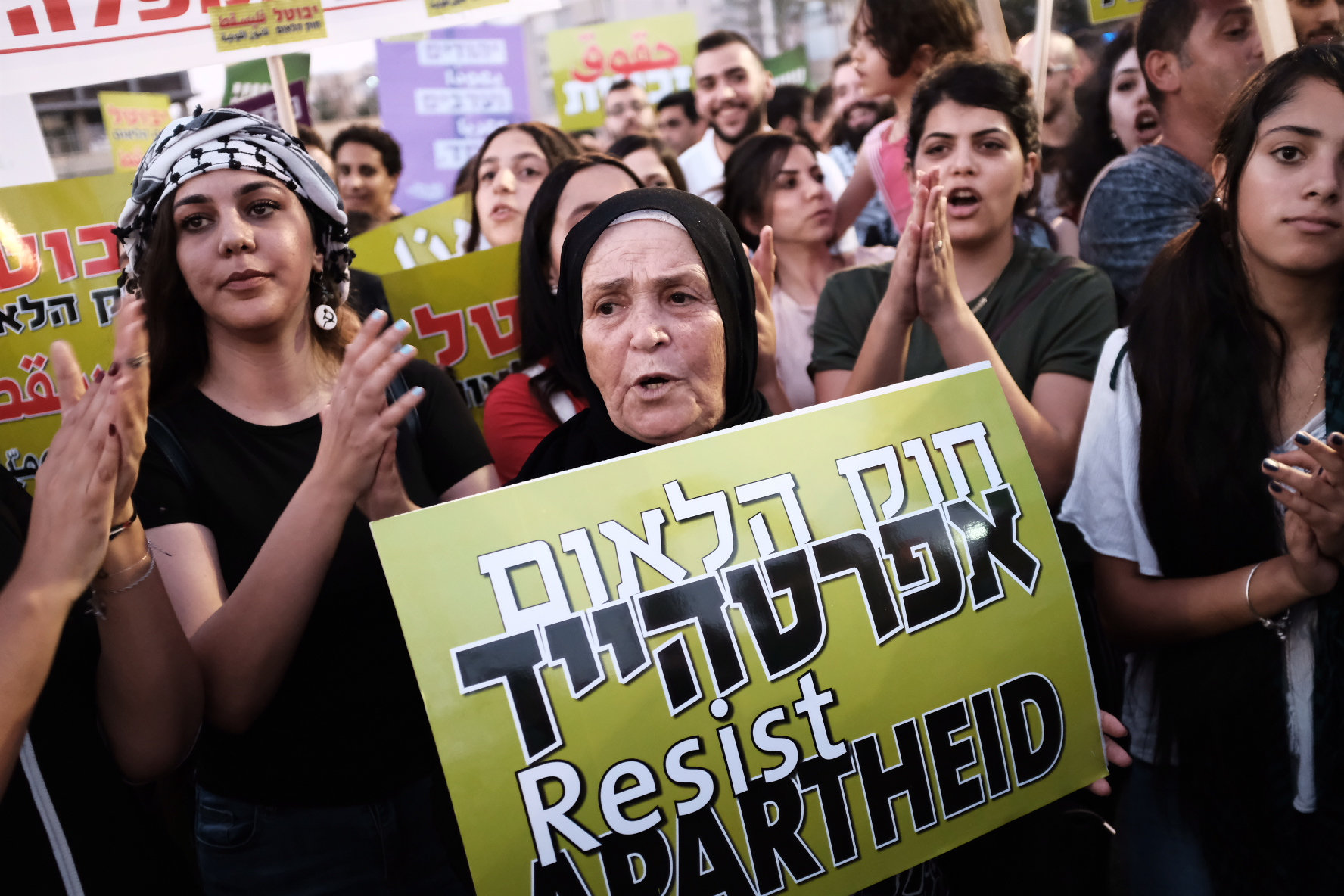 Palestinian citizens of Israel and activists protest against the Jewish Nation-State Law in Rabin Square, Tel Aviv, Aug. 11, 2018. (Tomer Neuberg/Flash90)