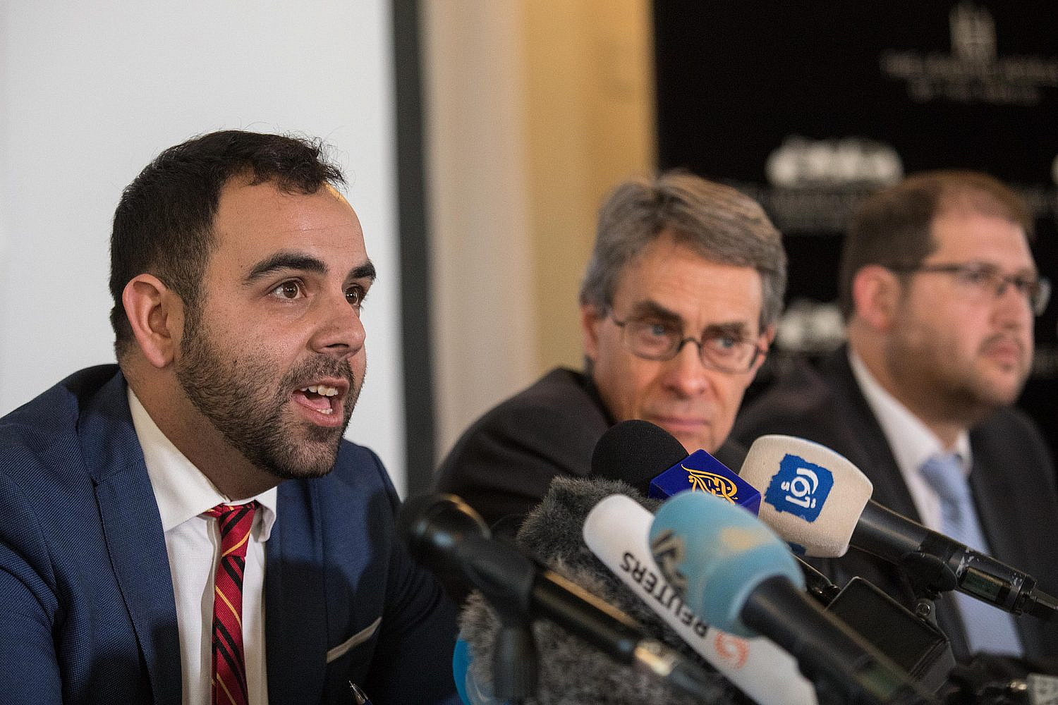 Omar Shakir, Human Rights Watch's Israel-Palestine director, speaks during a press conference in Jerusalem ahead of his deportation from Israel, Nov. 24, 2019. (Olivier Fitoussi/Flash90)