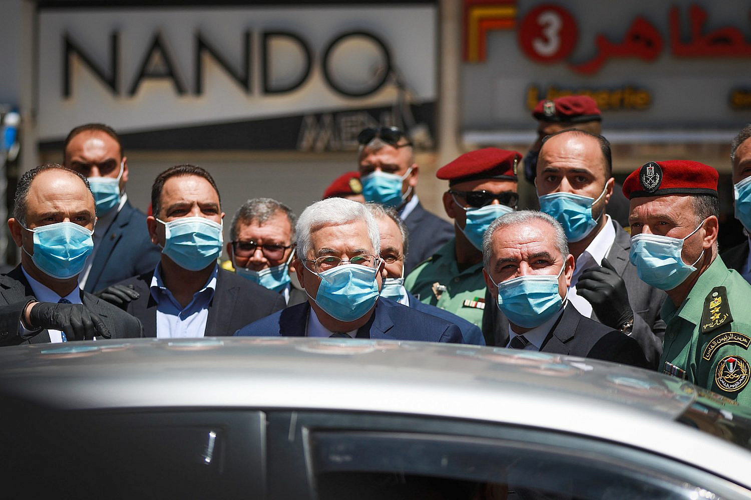 Palestinian President Mahmoud Abbas during a tour in the West Bank city of Ramallah, May 15, 2020. (Flash90)