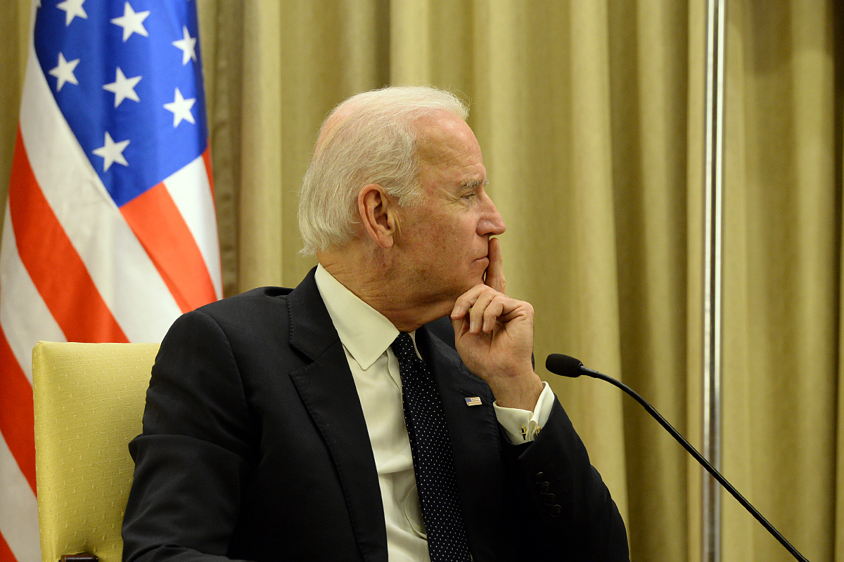Then-U.S. Vice President Joe Biden sits with Shimon Peres during visit to Jerusalem, Israel, Jan. 13, 2014. (U.S. Embassy Jerusalem/CC BY-SA 2.0)
