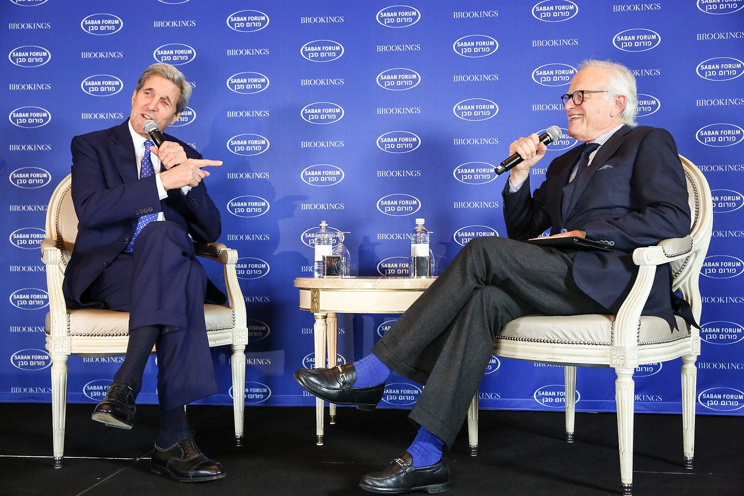 Former U.S. Secretary of State John Kerry in discussion with then-Brookings Executive Vice President Martin Indyk at the 2015 Saban Forum. Dec. 5, 2015 (Ralph Alswang/Brookings Institution/CC BY-NC-ND 2.0)