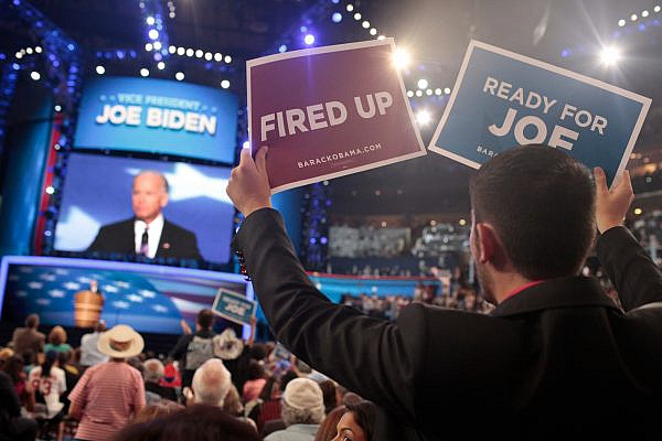 Delegates react to then-Vice President Joe Biden's speech during the closing night of the 2012 Democratic National Convention held at the Time Warner Cable Arena in Charlotte, N.C., on September 6, 2012. (Jared Soares/PBS NewsHour/CC BY-NC 2.0)