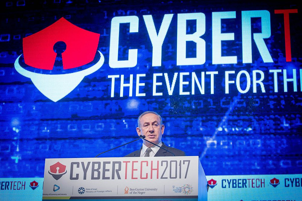 Israeli Prime Minister Benjamin Netanyahu at the Cybertech Israel Conference and Exhibition, in Tel Aviv, attended by thousands of leading multi-national corporates, SMB's, start-ups, private and corporate investors, venture capital firms, experts and clients. January 31, 2016. (Miriam Alster/Flash90)
