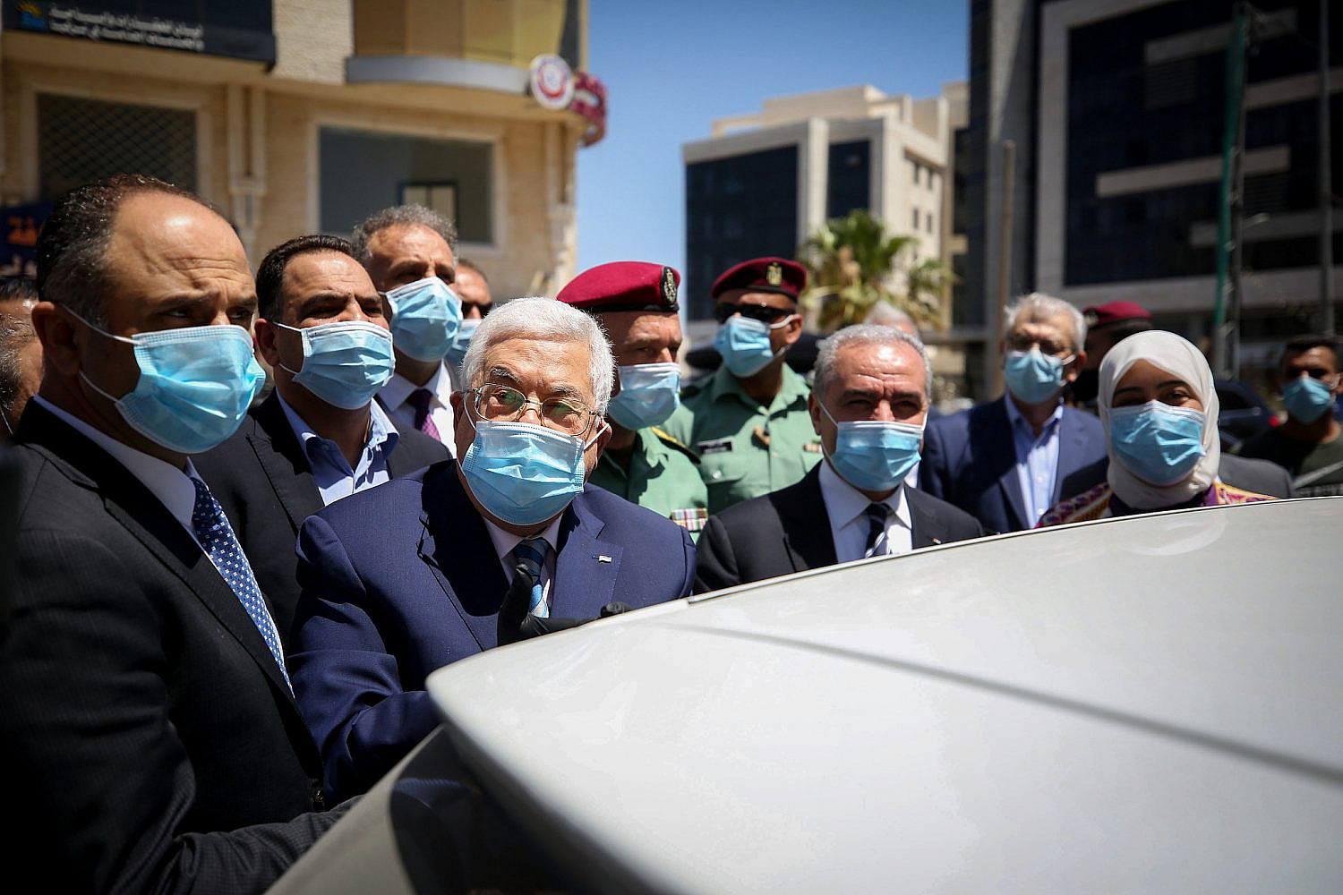 Palestinian President Mahmoud Abbas seen during a tour in the West Bank city of Ramallah, May 15, 2020. (Flash90)