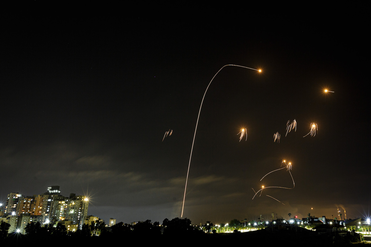 Rockets fired from the Gaza Strip toward Israel are intercepted by the Iron Dome, Ashkelon, Israel, May 10, 2021. (Edi Israel/Flash90)