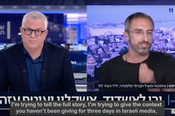 +972 writer Rami Younis takes down Israeli television anchor Dov Gil-Har after the Gil-Har incited against Palestinian citizens on national television. (Screenshot)