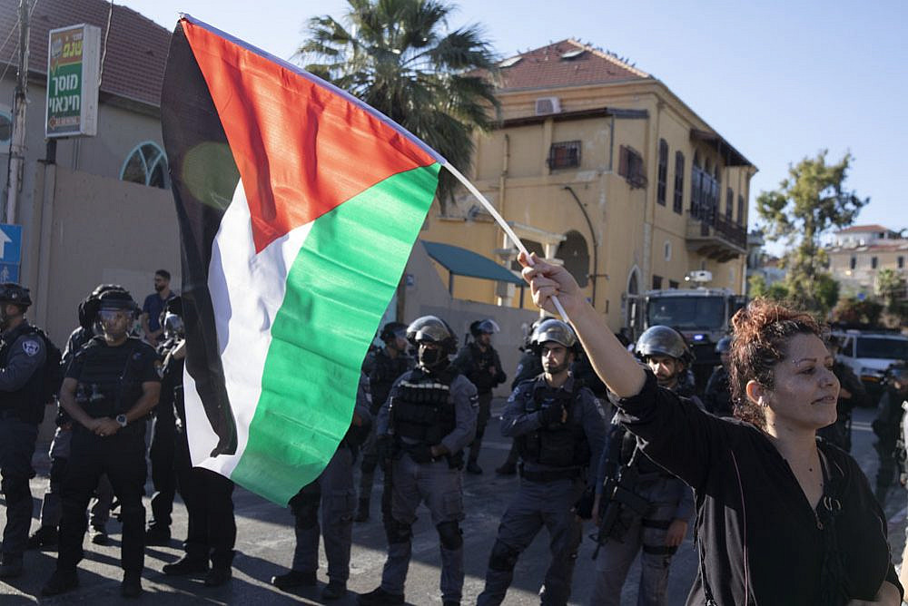 Hundreds of Palestinian citizens of Israel protest in the city of Jaffa in solidarity with Sheikh Jarrah and Gaza, May 15, 2021. (Oren Ziv/Activestills.org)