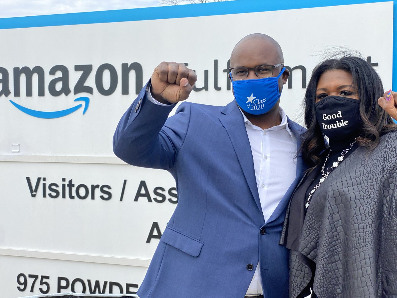 Congressional Reps. Jamaal Bowman and Cori Bush visiting an Amazon union drive in Bessemer, Alabama. (Courtesy of Rep. Bowman's Office)