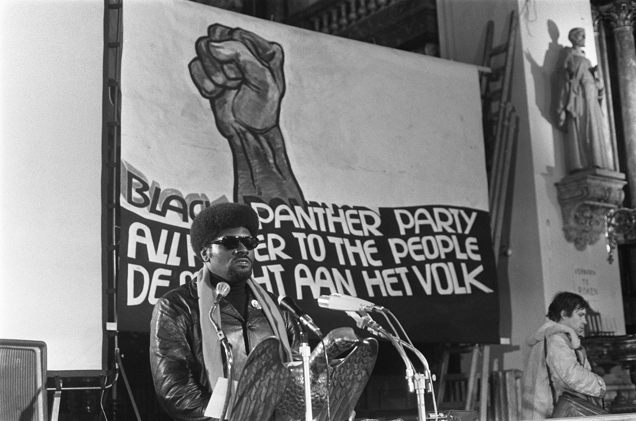 Elbert Howard, a founding member of the Black Panther Party, delivering an address in Amsterdam, Netherlands, Jan. 16, 1970 (Rob Mieremet/Anefo)