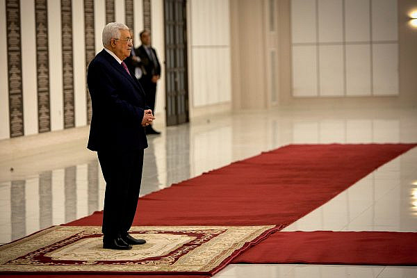 Palestinian Authority President Mahmoud Abbas at a swearing in ceremony of the new Palestinian government, at the PA's headquarters in the West Bank town of Ramallah, April 13, 2019. (Nasser Ishtayeh/Flash90)