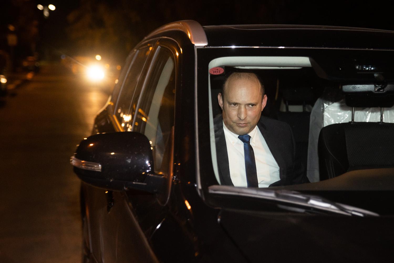 Incoming Prime Minister Naftali Bennett arrives for a meeting with Israeli Prime Minister Benjamin Netanyahu at his official residence in Jerusalem, April 8, 2021. (Yonatan Sindel/Flash90)
