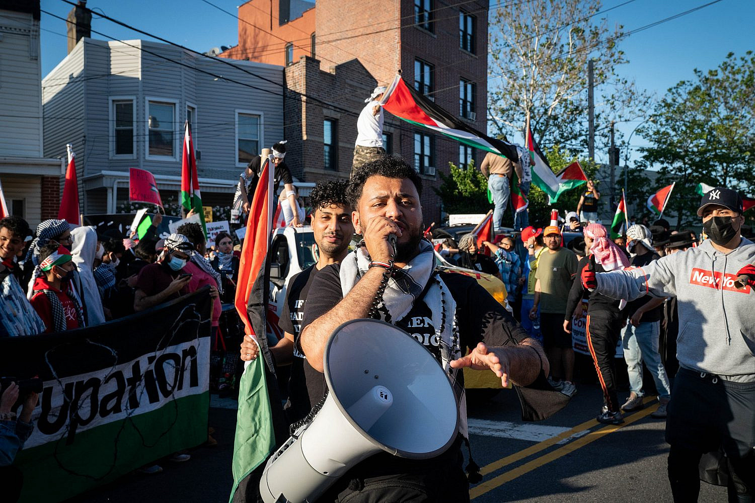 Pro-Palestinian protesters rally in the Bronx, New York City, May 31, 2021. (Luke Tress/Flash90)